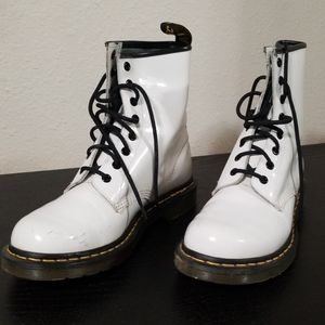 Dr.Martens white leather boots